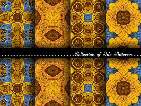 Vector Collection of Seamless Vintage Patterns. Hand Drawn Tile Textures, Ethnic Ornaments, Abstract Seamless Textures Illustration
