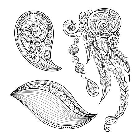 Monochrome Set of Tribal Decorative Objects. Abstract Desing Elements with Ethnic Style Ornaments. Folkloric Dreamcatcher with Feathers and Beades. Swirl Doodle Style