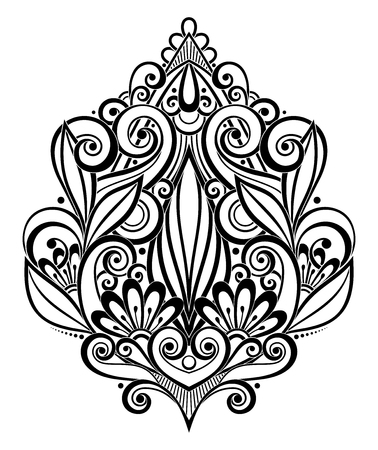 pressured: Vector Black Decorative Element in Doodle Style with Lot of Swirls. Symmetrical Ethnic Object for Your Designs. Contour Floral Deco Composition. Template Ready for Pressured Based Specialty Printing Illustration