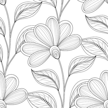 Vector Patrón Floral Monocromo Inconsútil. Textura Floral Dibujada A ...