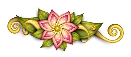 specific: Vector Beautiful Abstract Colored Floral Composition with Flowers, Leaves and Swirls. Floral Design Element without Specific Form. Doodle Style Illustration