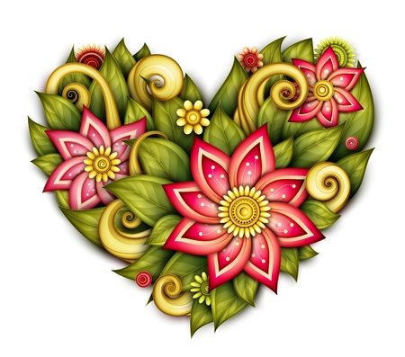 passion  ecology: Vector Colored Floral Composition in Heart Shape. Hand Drawn Ornament with Flowers, Leaves and Herbs. Beautiful Doodle Background for Valentine Greeting Card