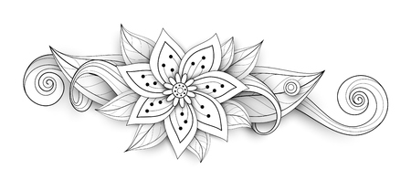 Vector Beautiful Abstract Monochrome Floral Composition with Flowers, Leaves and Swirls. Floral Design Element without Specific Form. Doodle Style with Realistic Shadows Illustration
