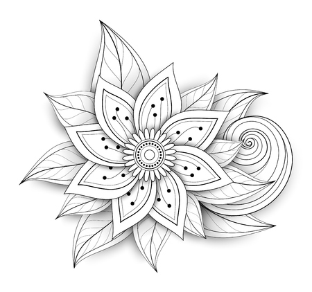 Vector Beautiful Abstract Monochrome Floral Composition with Flowers, Leaves and Swirls. Floral Design Element in Doodle Style with Realistic Shadows