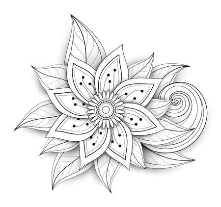 Vector Mooie Abstracte Zwart-wit Bloemensamenstelling met Bloemen, Bladeren en Wervelingen. Floral design element in doodle stijl met realistische schaduwen Stock Illustratie