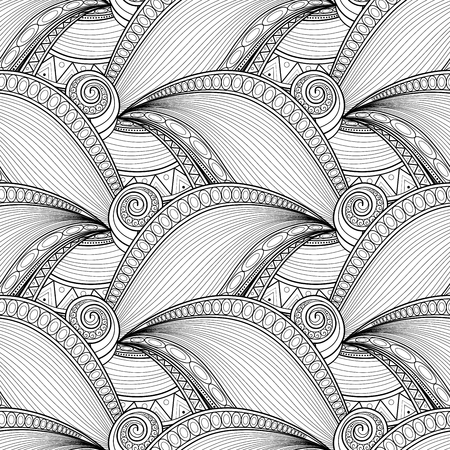 indian ocean: Vector Monochrome Wave Seamless Pattern. Original Ornate Design, Contour Paisley Garden Style. Indian Stylization. Doodle Style Coloring Book Page