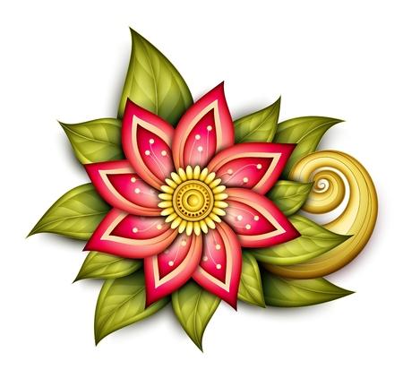 花、葉と渦巻きを持つ美しい抽象的な色花構成をベクトルします。落書きスタイルで花のデザイン要素  イラスト・ベクター素材