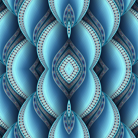 Vector Seamless Abstract Tribal Pattern with Waves. Hand Drawn Ethnic Texture, Flight of Imagination. Beautiful Folkloric Pattern