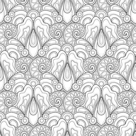 Monochromes nahtloses Muster mit Blumenmotiven. Endlose Textur mit Blumen, Blätter etc. Natürlichen Hintergrund in Doodle Line Style. Malbuch Seite. Vektor-Kontur-Illustration. Abstrakte Kunst Vektorgrafik
