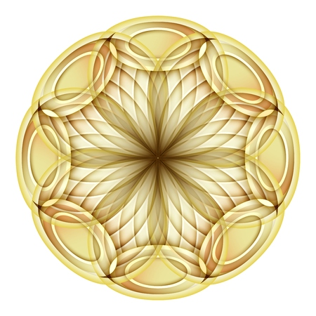 Gold Beautiful Decorative Ornate Mandala. Floral Ethnic Arabic Amulet. Art Deco, Asian Style Design Element. Realistic Vitrage Ornaments. Vector 3d Illustration. Ornamental Abstraction Illustration