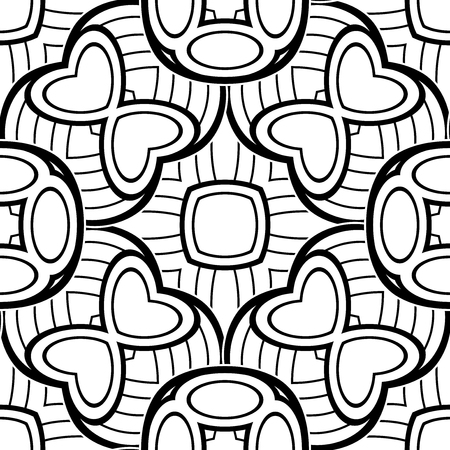 pressured: Black and White Seamless Pattern with Mosaic Motif. Endless Tribal Texture. Tile Background, Kaleidoscope. Pressured Printing Template. Vector Contour Illustration. Abstract Art, Ethnic Style