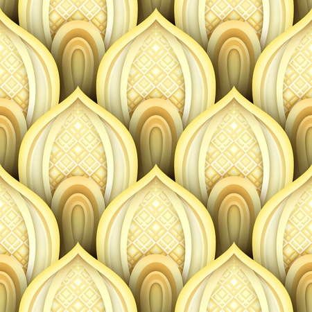 Seamless Pattern with Gold Ethnic Motifs. Endless Texture with Abstract Design Element. Art Deco, Nouveau, Islamic, Arabic Style. Realistic Glossy Ornament. Vector 3d Illustration. Ornate Abstraction Illustration