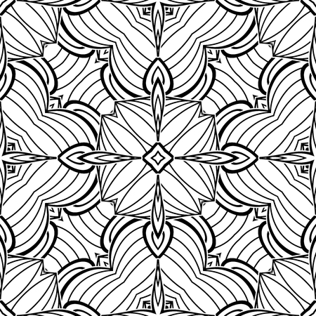 Black and White Seamless Pattern with Mosaic Motif. Endless Tribal Texture. Tile Background, Kaleidoscope. Pressured Printing Template. Vector Contour Illustration. Abstract Art, Ethnic Style
