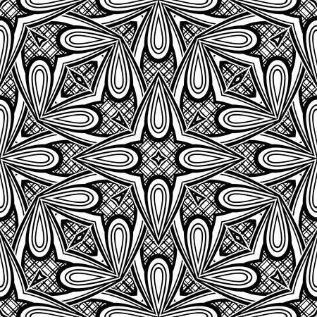 Black and White Seamless Pattern with Mosaic Floral Motif. Endless Tribal Texture. Tile , Kaleidoscope. Pressured Printing Template. Zdjęcie Seryjne - 85652495