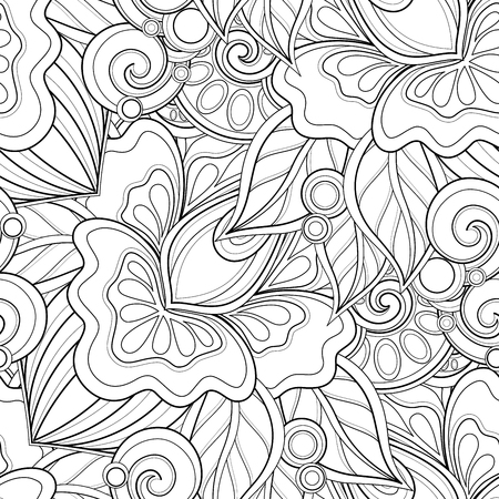 Monochrome Seamless Pattern with Floral Motifs. Endless Texture with Flowers, Leaves etc. Natural Background in Doodle Line Style. Coloring Book Page. Vector Contour Illustration. Abstract Art
