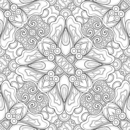 Monochrome Seamless Pattern with Mosaic Floral Motif. Endless Tribal Texture. Tile Background, Kaleidoscope. Coloring Book Page. Vector Contour Illustration. Abstract Mandala Art, Doodle Sketchy Style