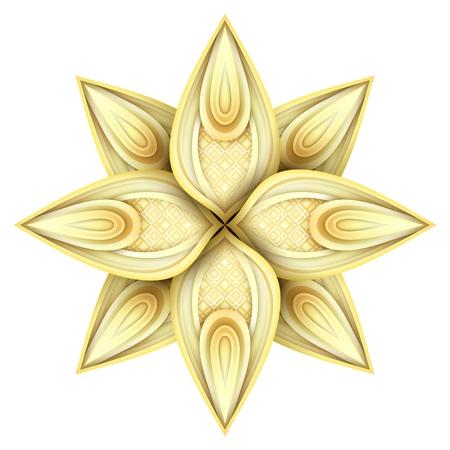 Gold Beautiful Decorative Ornate Mandala. Floral Ethnic Arabic Amulet. Art Deco, Asian Style Design Element. Realistic Glossy Ornament. Vector 3d Illustration. Ornamental Abstraction Illustration
