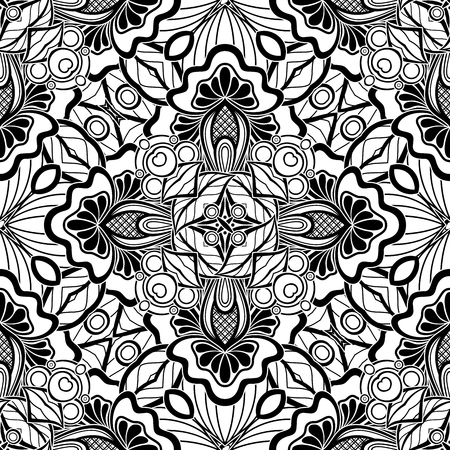 Black and White Seamless Pattern with Mosaic Floral Motif. Endless Tribal Texture. Tile Background, Kaleidoscope. Pressured Printing Template. Vector Contour Illustration. Abstract Art, Ethnic Style