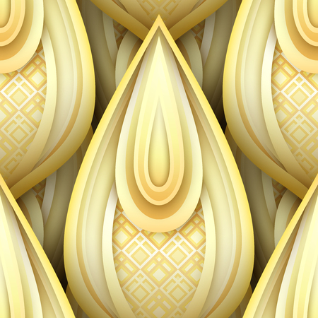 Seamless Pattern with Gold Ethnic Motifs. Endless Texture with Abstract Design Element.