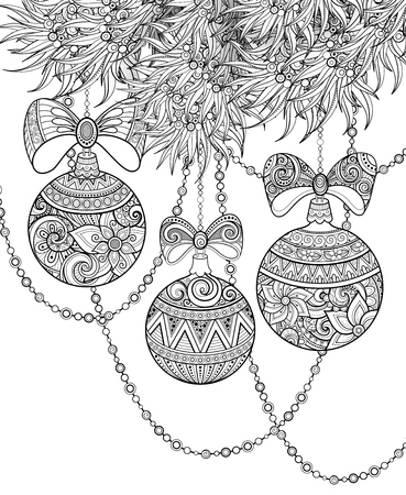 Monochrome Merry Christmas Illustration, Ethnic Motifs. Ball, Bow, Angel Decorations on the Tree.