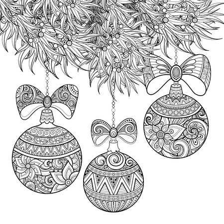 Monochrome Merry Christmas Illustration, Floral Motifs. Balls and Bows Decorations on the Tree. Holiday Background in Doodle Line Style. Coloring Book Page. Vector Contour Art with Realistic Shadows