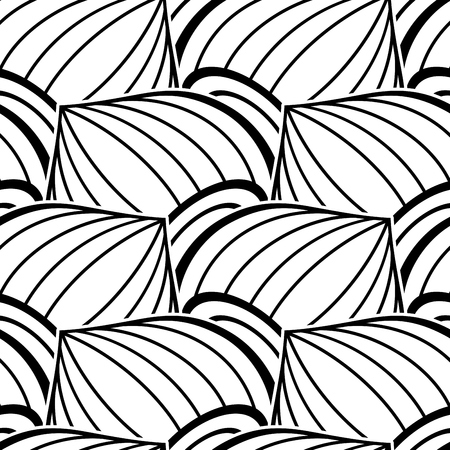 Black and White Seamless Pattern with Ethnic Motifs. Endless Texture with Abstract Design Element. Art Deco, Nouveau, Islamic, Arabic Style. Pressured Printing Template. Vector Contour Illustration