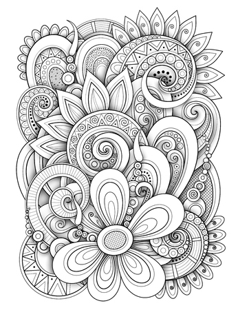 Monochrome Floral Design Background in Doodle Line Style. Decorative Composition with Flowers and Leaves. Elegant Natural Motif. Coloring Book Page. Vector Contour 3d Illustration. Abstract Art