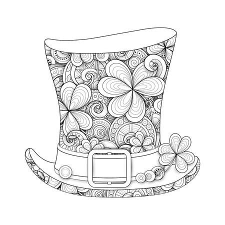 Leprechaun vintage top hat illustration. Doodle St. Patrick's day symbol decorative ornament with clover leaf abstract coins and swirl. Coloring book page vector 3d ornate drawing. Ilustracja