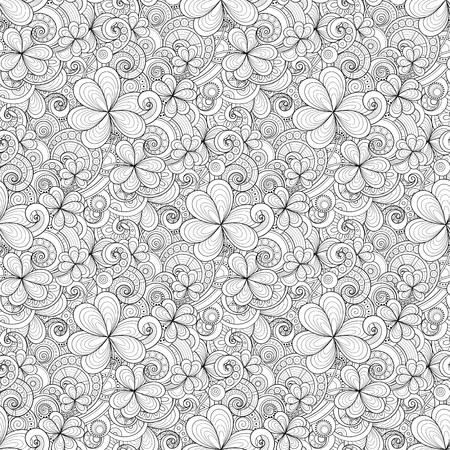 Doodle St. Patricks say seamless pattern. Decorative clover leaf talisman, abstract coins and swirl. Elegant natural background coloring book page vector contour illustration ornate. Illustration