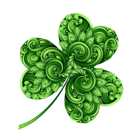 Decorative clover leaf talisman colored doodle St. Patricks day design element. Elegant natural motif with triskel Celtic symbol. Greeting card ornaments vector 3d illustration abstract ornate art.