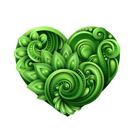 Decorative green heart talisman colored doodle St. Patricks day design element. Elegant floral natural motif with swirls. Greeting card ornaments vector 3d illustration abstract ornate art.