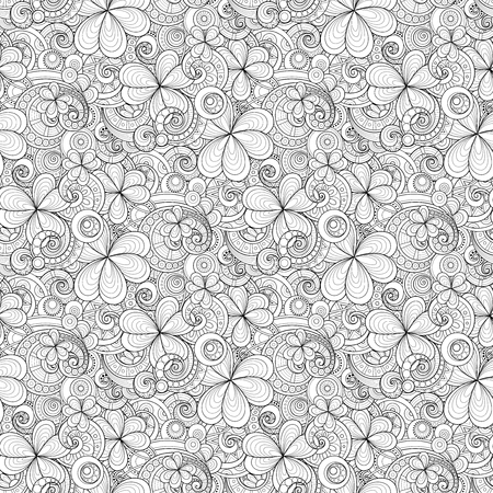 Monochrome Doodle St Patricks Day Seamless Pattern. Decorative Clover Leaf Talisman, Abstract Coins and Swirl. Elegant Natural Background. Coloring Book Page. Vector Contour Illustration Ornate