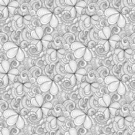 Monochrome Doodle St Patricks Day Seamless Pattern.