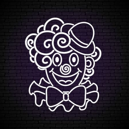 Greeting Card Template for April Fool's Day, Happy Birthday Concept. Cute, Lovely Clown on Brick Wall. Holiday Poster, Flyer, Banner, Invitation. Contour Doodle Artwork. Vector Line Art Illustration
