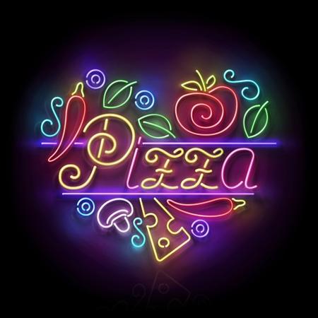 Italian Pizza Heart Signboard. Cheese, Mushroom, Tomato, Pepper. Shiny Neon Light Poster, Flyer, Banner, Postcard, Invitation, Label. Glossy Black Background. Vector 3d Illustration. Clipping Mask Illustration