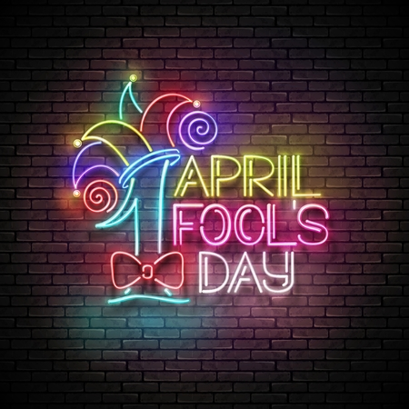 Greeting Card Template for April Fool's Day. Vintage Glow Signboard with Letters and Jester Hat. Neon Light Poster, Banner. Seamless Brick Wall. Vector 3d Illustration. Used Clipping Mask
