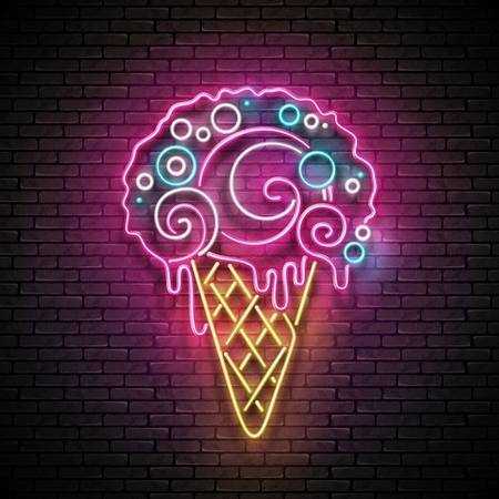 Vintage Glow Signboard with Ice Cream Cone and Ball. Cafe Flyer Template.