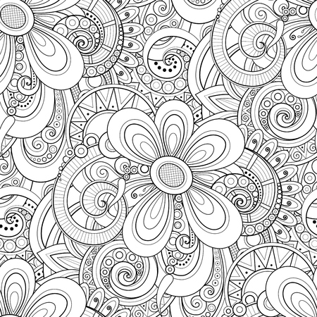 Monochrome Seamless Pattern with Floral Motifs. Endless Texture with Flowers, Leaves etc. Natural Background in Doodle Line Style. Coloring Book Page. Vector Contour Illustration. Abstract Art Archivio Fotografico - 98531535