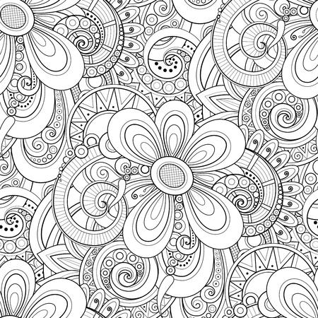 Monocromo de patrones sin fisuras con motivos florales. Textura sin fin con flores, hojas, etc. Fondo natural en estilo de línea Doodle. Página de libro para colorear. Vector ilustración de contorno. Arte abstracto Ilustración de vector