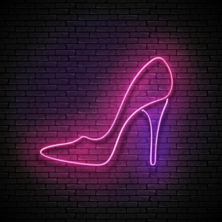 Vintage Glow Signboard with Pink High Heel Shoe