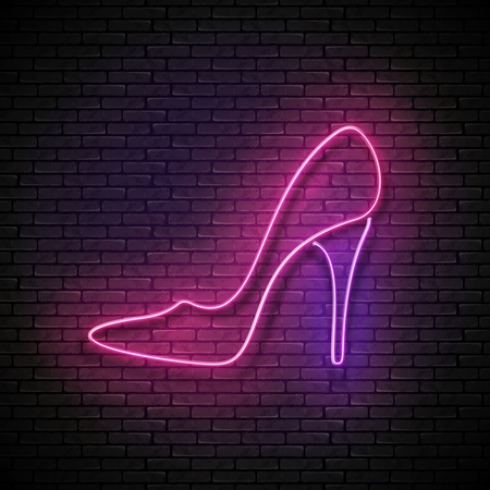 Vintage Glow Signboard with Pink High Heel Shoe
