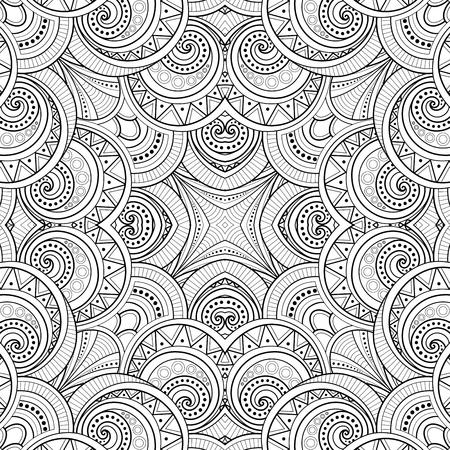 Monochrome Seamless Tile Pattern, Fancy Kaleidoscope. Endless Ethnic Texture with Abstract Design Element. Art Deco, Nouveau, Paisley Garden Style. Coloring Book Page. Vector Contour Illustration