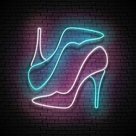 Vintage Glow Signboard with Pair of High Heel Shoe, Shopping Concept. Boutique, Black Friday Template. Shiny Neon Poster, Flyer, Banner, Invitation Card. Vector 3d Illustration. Clipping Mask Vectores