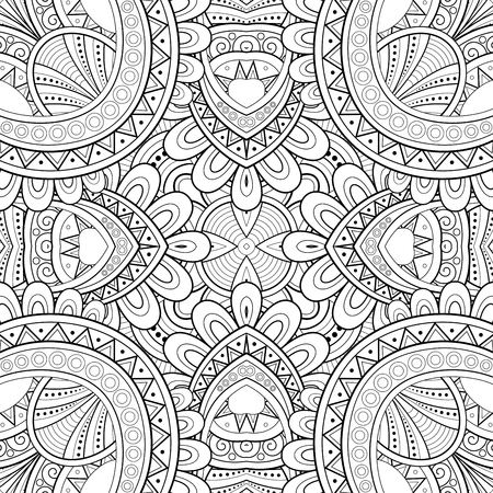 Monochrome Seamless Tile Pattern, Fancy Kaleidoscope. Endless Ethnic Texture with Abstract Design Element. Art Decor, Nouveau, Paisley Garden Style. Coloring Book Page. Vector Contour Illustration. Vettoriali