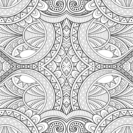 Monochrome Seamless Tile Pattern, Fancy Kaleidoscope. Endless Ethnic Texture with Abstract Design Element. Art Deco, Nouveau, Paisley Garden Style. Coloring Book Page. Vector Contour Illustration