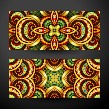Colored Set of Banners, Web Design Elements. Beautiful Ornament, Tile Pattern, Fantastic Kaleidoscope. Corporate Identity Template. Realistic Glossy Ornament.
