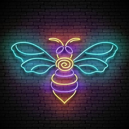 Vintage Glow Signboard with Honeybee, Design Element. Flying Bee Poster Template. Shiny Neon Light Flyer, Banner, Business Card. Seamless Brick Wall. Vector 3d Illustration. Clipping Mask, Editable Vectores