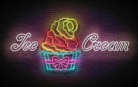 Vintage Poster with Ice Cream Cone in Paper Cup and Inscription. Neon Lettering. Template for Flyer, Banner, Invitation. Brick Wall, Vertical Seamless. Vector 3d Illustration. Clipping Mask, Editable 矢量图像