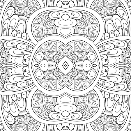 Monochrome Seamless Tile Pattern, Fancy Kaleidoscope. Endless Ethnic Texture with Abstract Design Element. Art Deco, Nouveau, Paisley Garden Style. Coloring Book Page. Vector Contour Illustration Imagens - 103951886