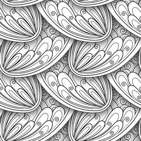 Monochrome Seamless Pattern with Ethnic Motifs. Endless Texture with Abstract Design Element. Art Deco, Paisley Garden Style. Coloring Book Page. Vector 3d Contour Illustration. Ornate Abstraction Illustration